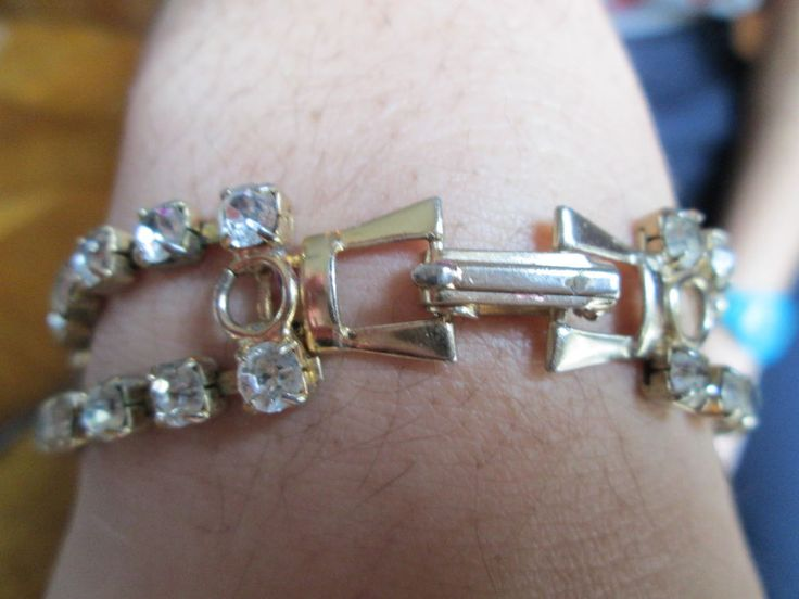 1940's  Prong Set Rhinestone Estate Antique Bracelet Enchanting VTG