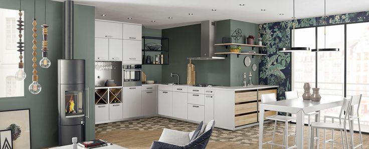 Cuisine moderne et design ouverte noire mat - Ambiance ...