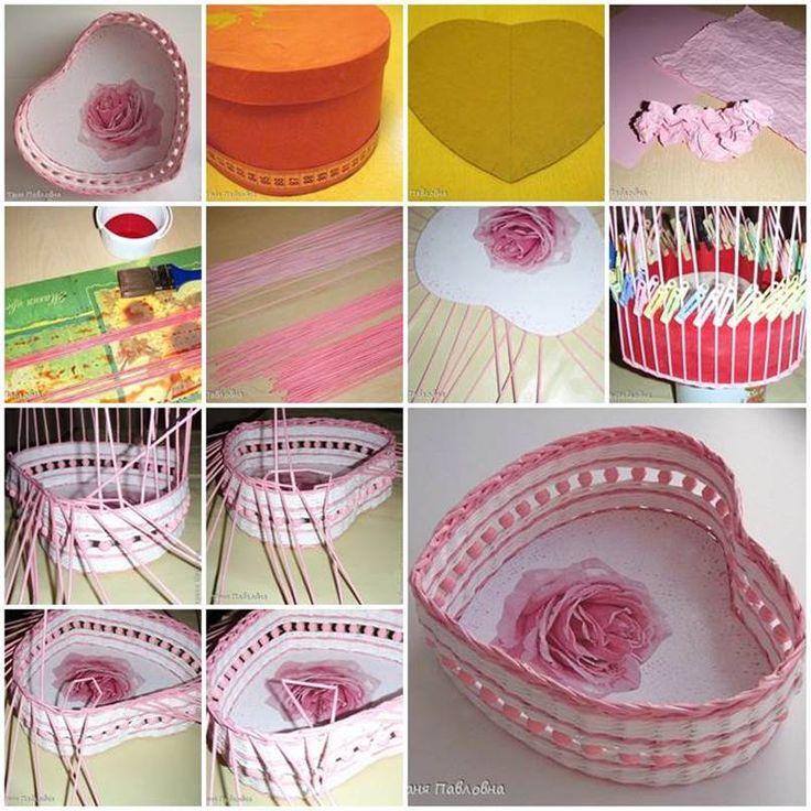 DIY Woven Paper Heart Shaped Basket  https://www.facebook.com/icreativeideas