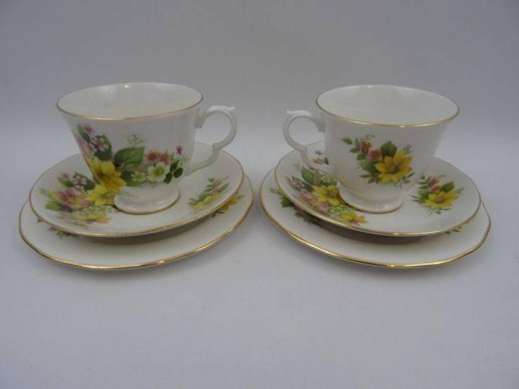 Royal Kent 2 Trios Yellow Floral Cup Saucer and Side Plate Bone China