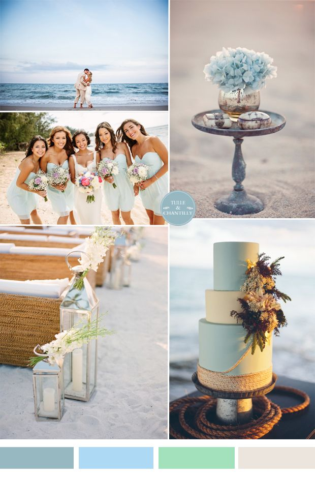 light sky blue summer beach wedding color ideas 2015