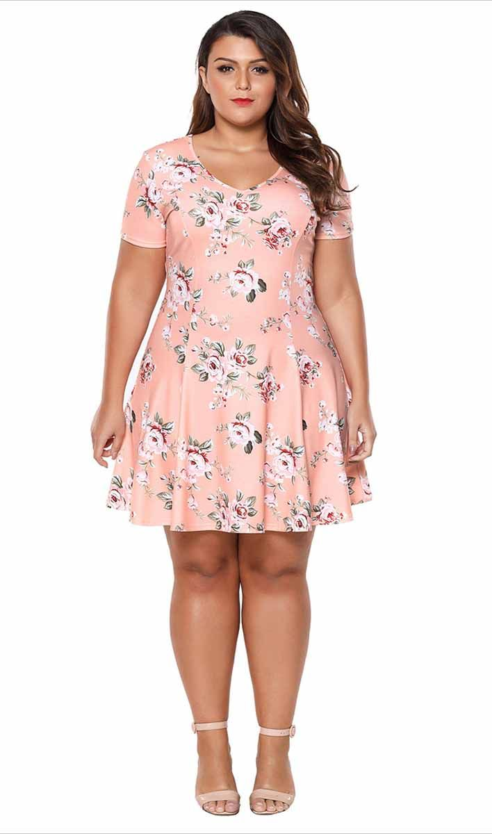 255d830a0dc0 Women's #yellow short sleeve #PlusSize mini #dress floral pattern print  allover, V neck, Ruffle hem, leisure, party, casual, summer.