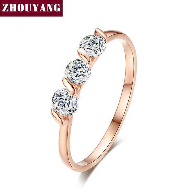 Alta qualidade Concise anel de cristal 18 K rosa banhado a ouro cristais austríacos tamanho natural atacado ZYR067 ZYR068