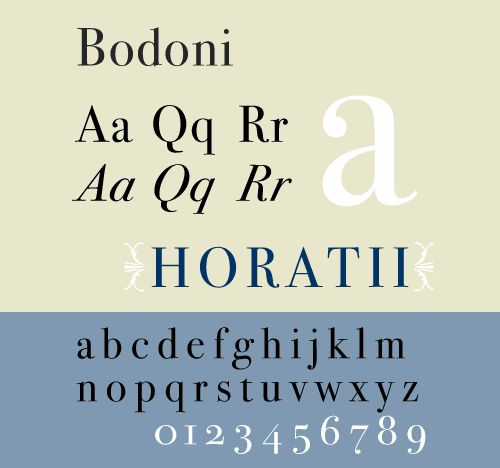 Bodoni: I'm more of a sans-serif type but if I had to have serifs this might be me.