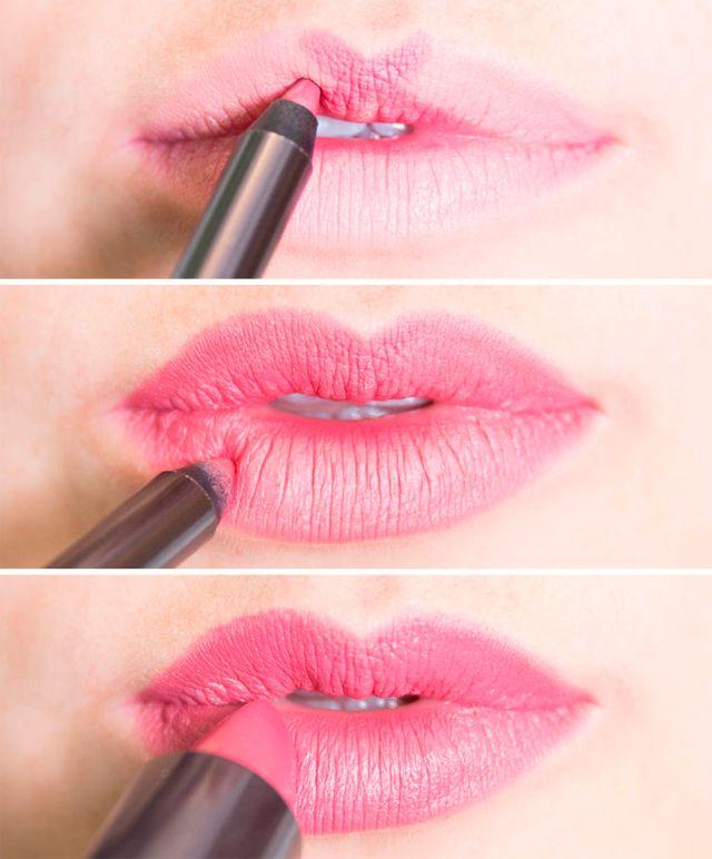Pintar labios con un arco más definido a través del método de la X