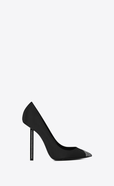 SAINT LAURENT Tower Woman TOWER 110 pumps in black satin and white crystals  a V4  019391fbf72