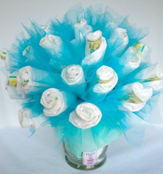 Diaper Bouquet - Blue Baby Boy Diaper Bouquet Baby Shower Centerpiece - 40 Diapers