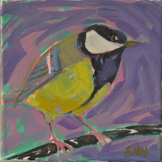 Original bird oil painting / birds / Titmouse / by NielsenDenmark