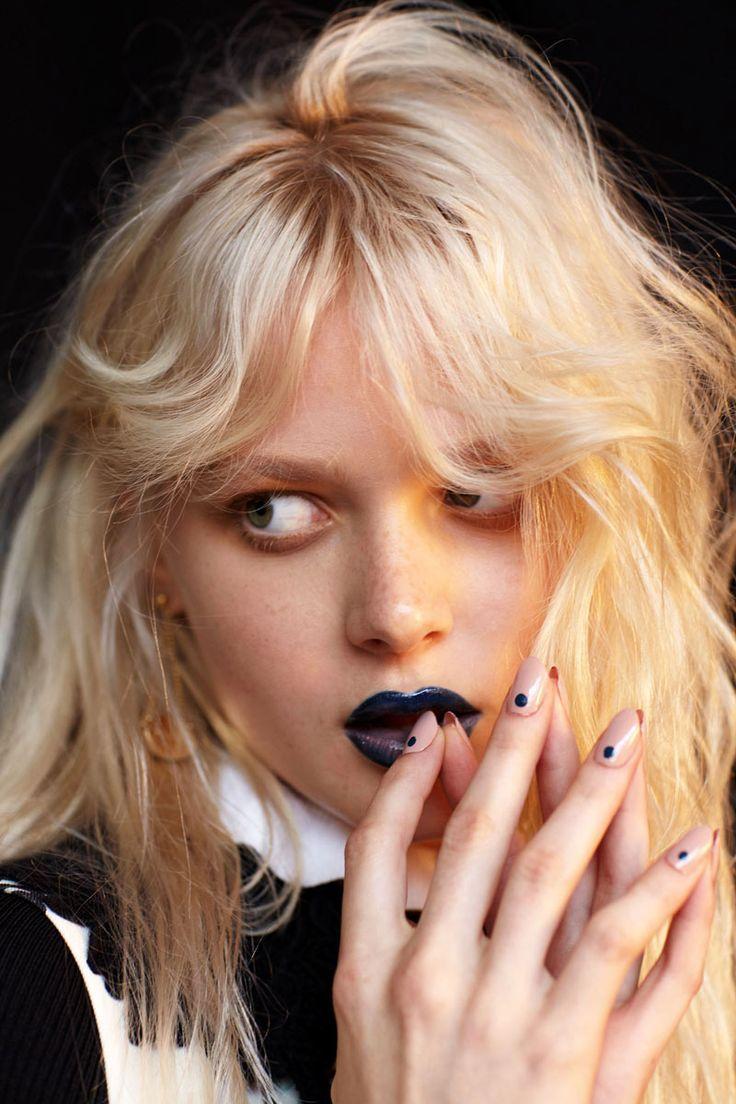 Dark vampy lipstick, natural freckly skin