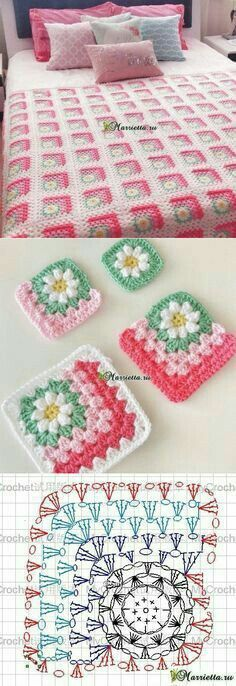 Crochet Flower Bed Cover Free Pattern
