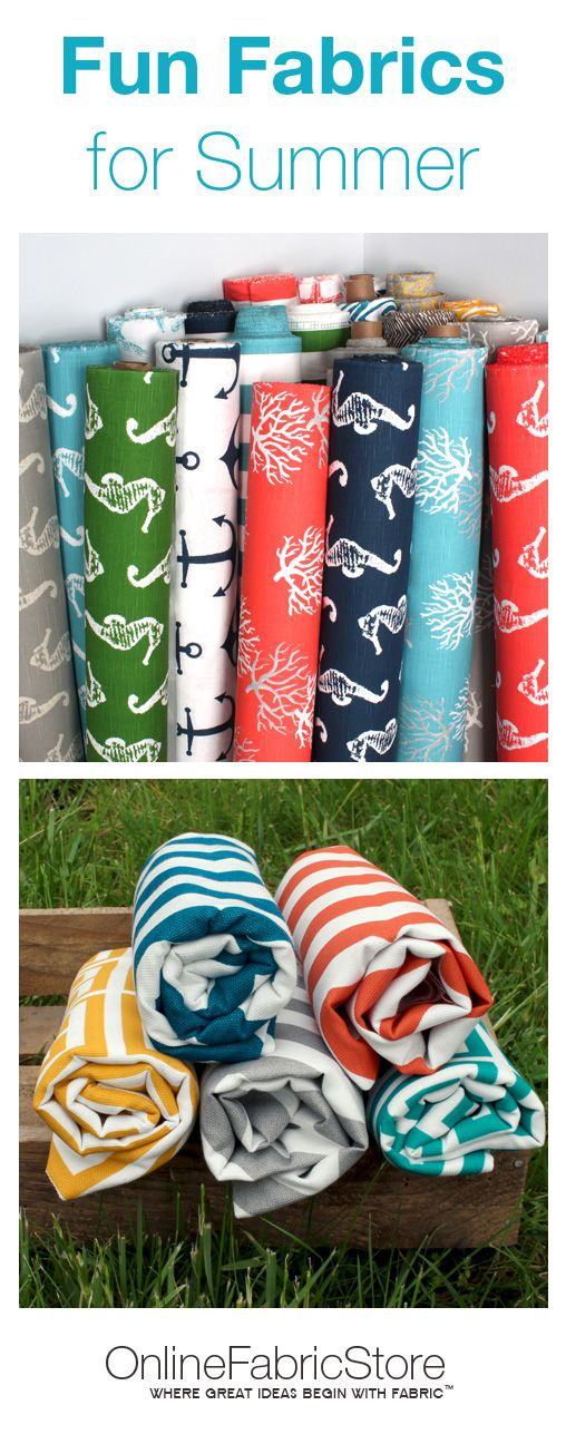 Bright, nautical and outdoor fabrics that'll freshen up home and outdoor decor for summer. #interiordesign #sewing #diy