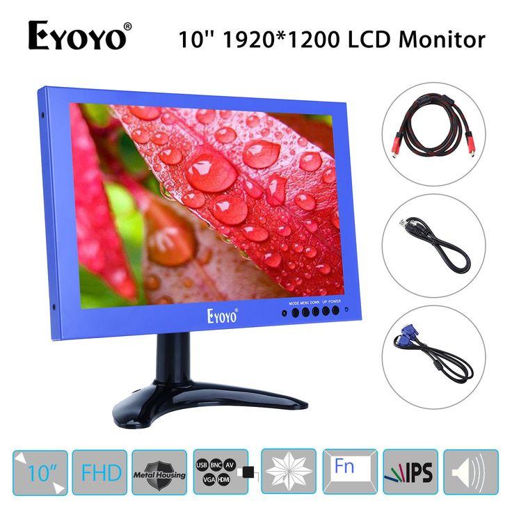 EYOYO 1920*1200 10 inch LCD IPS Display VGA BNC USB Video Audio HDMI FHD Monitor Speaker Blue Mini for CCTV DVD PC Laptop