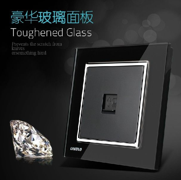 New Design Wall single computer/data/network socket, Knight Black Faddish Luxury Tempered glass net socket panel Free shipping