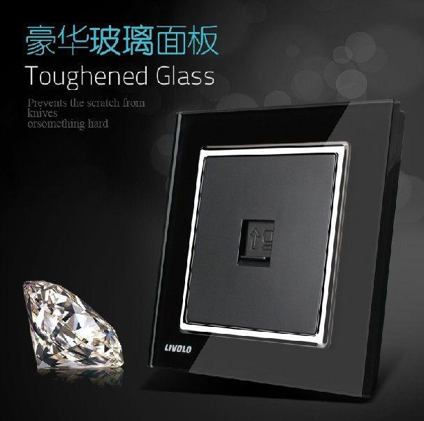 new design wall single computerdatanetwork socket knight black faddish luxury tempered