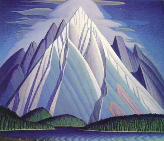 """Mountain, Maligne Lake,"" Lawren Stewart Harris, oil on canvas, 41.3 x 49.2"", private collection."