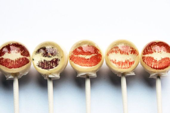 Lipstick kiss edible image lollipops by Vintage Confections