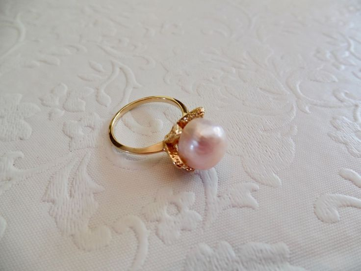 BAROQUE PINK PEARL RING  IN A 14KT. GOLD TULIP SETTING #Unbranded #Solitaire