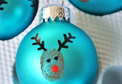 Homemade Rudolph Christmas Ornaments: Christmas Crafts, Gift, Activities For Kids, Holidays Crafts, 10 Homemade, Christmas Activities, Homemade Christmas Ornaments, Thumbprint Reindeer, Reindeer Ornaments