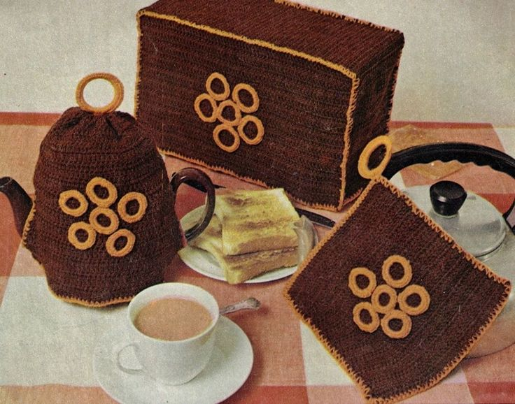 VINTAGE RETRO KITCHEN SET TEA COSY,TOASTER COVER,POT HOLDER 4PLY CROCHET PATTERN