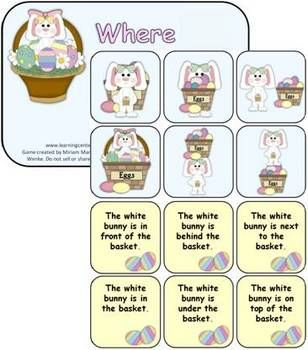 Free!! Prepositions...Easter Activity! Where's the bunny.  Cute card matching & graphics!