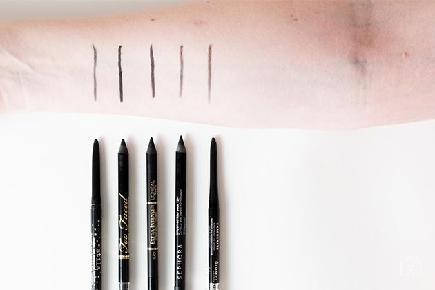 The five pencils that our panel tested, with our main pick, Stila Smudge Stick Waterproof, at the far left, and our runner-up, Too Faced, second from the left.