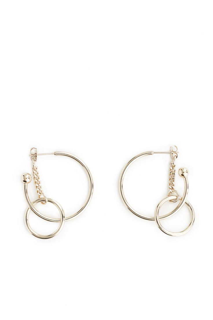 :Hoop in hoop earrings:Push back post closure:Brass dipped palladium chain:24k gold-plated chain:Handmade in France