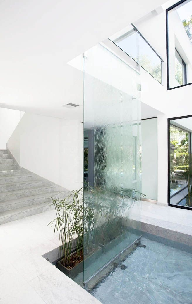 25 best ideas about indoor waterfall on pinterest for Glass waterfall design