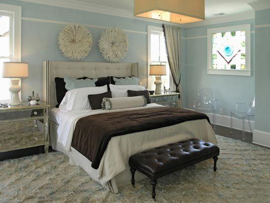 blue grey gold ivory bedroom decorating ideas   West Coast glamour meets East Coast tradition: Decor, Chandelier, Dream, Bedroom Design, Master Bedroom, Bedrooms, Bedroom Ideas