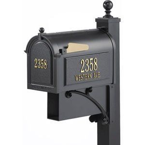 Whitehall Mailboxes: Estate Streetside Mailbox Package In Black by Whitehall Mailboxes. $540.94. Whitehall Mailboxes: Estate Streetside Mailbox Package In Black