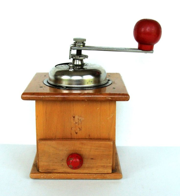Midcentury Vintage Beech Wood Coffee Mill Grinder Manual Old Fashion Primitive
