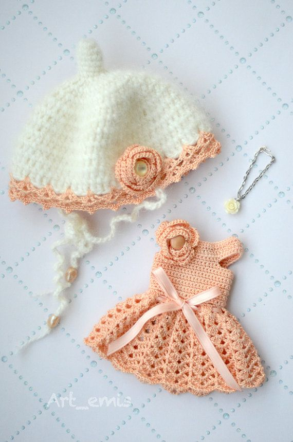 Crochet set for Blythe doll  Salmon by ByArtemis on Etsy, $39.00