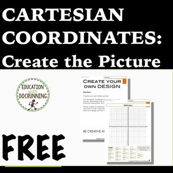 """FREE Cartesian Coordinates: Student-designed Graph the Picture is a fun activity in which students draw pictures on a Cartesian coordinate system and then write the """"code"""" so other students can solve. Sample included and links to pictures included. A great addition to your middle school math curriculum and for differentiation."""