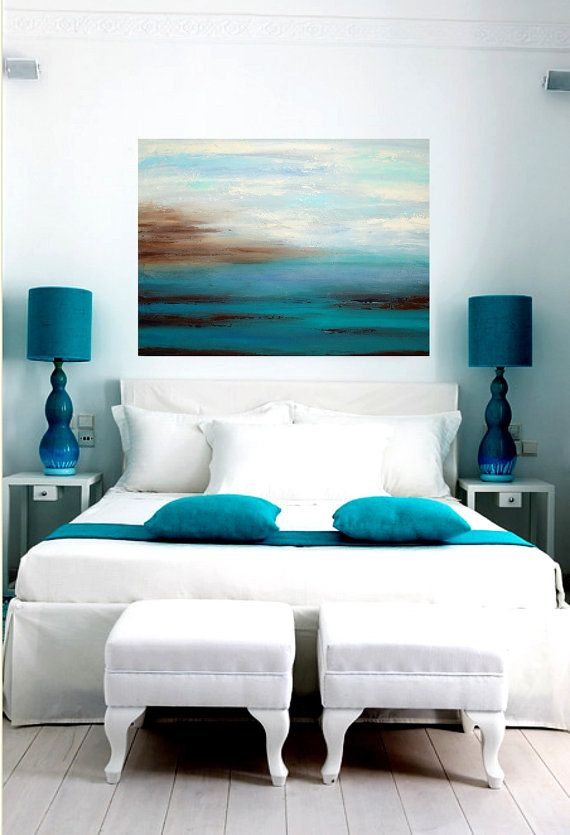 Large Original Abstract Acrylic Painting Title by OraBirenbaumArt, $345.00 guest bedroom or master of a beach house