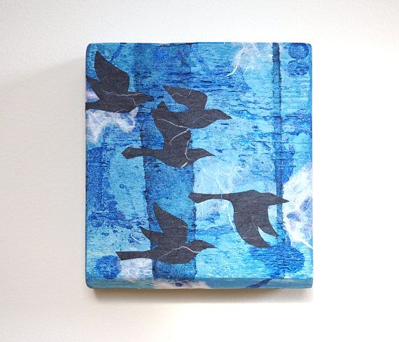 Crow wall art mixed media reclaimed wood flock of crows