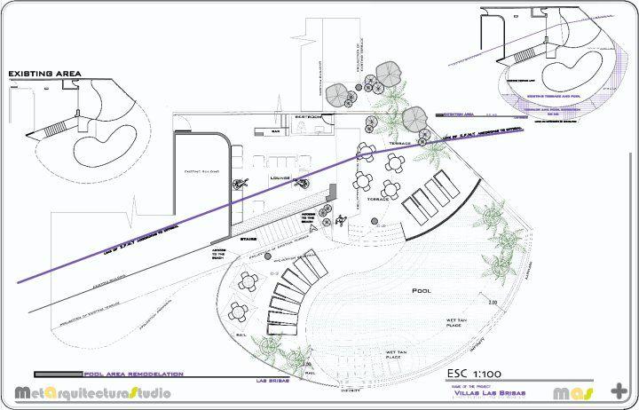 Remodelación Condominio Las Brisas  Área de Terrazas y Alberca, Planimetría Conchas Chinas, Puerto Vallarta Jalisco  MetA