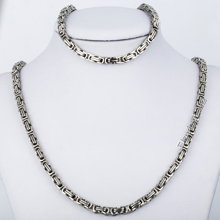Find More Jewelry Sets Information about CUSTOMIZE SIZE 5mm Byzantine Box JEWELRY SET Silver Tone Stainless Steel Necklace Bracelet Chain Mens Chain Wholesale   KS20,High Quality chain necklace silver,China chain couplers Suppliers, Cheap necklace custom from Davieslee Store on Aliexpress.com