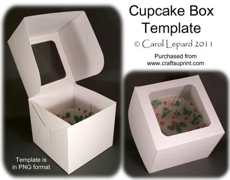 Cupcake Box Template on Craftsuprint designed by Carol Lepard - This is a great template to use to make a cake box for a single cupcake. Can be used for many ocassions, just add decorative paper.Full directions for making box are included. - Now available for download!