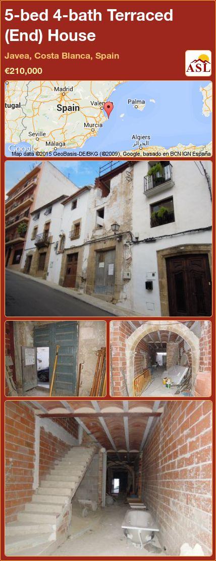 5-bed 4-bath Terraced (End) House in Javea, Costa Blanca, Spain ►€210,000 #PropertyForSaleInSpain