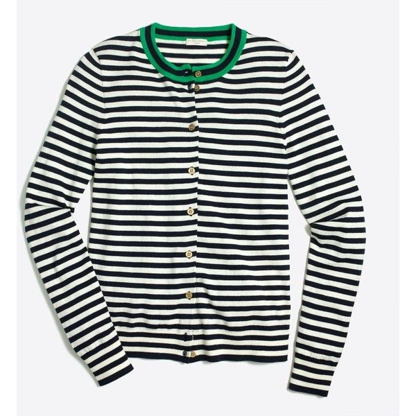 J.Crew Tipped stripe Caryn cardigan sweater ($36) ❤ liked on Polyvore featuring tops, j crew tops, white long sleeve top, striped long sleeve top, long sleeve tops and stripe top