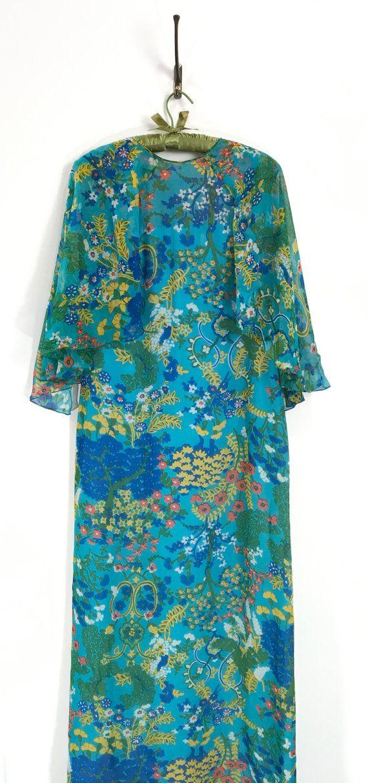 1970s Blue floral vintage maxi dress   Medium by 86CharlotteStreet