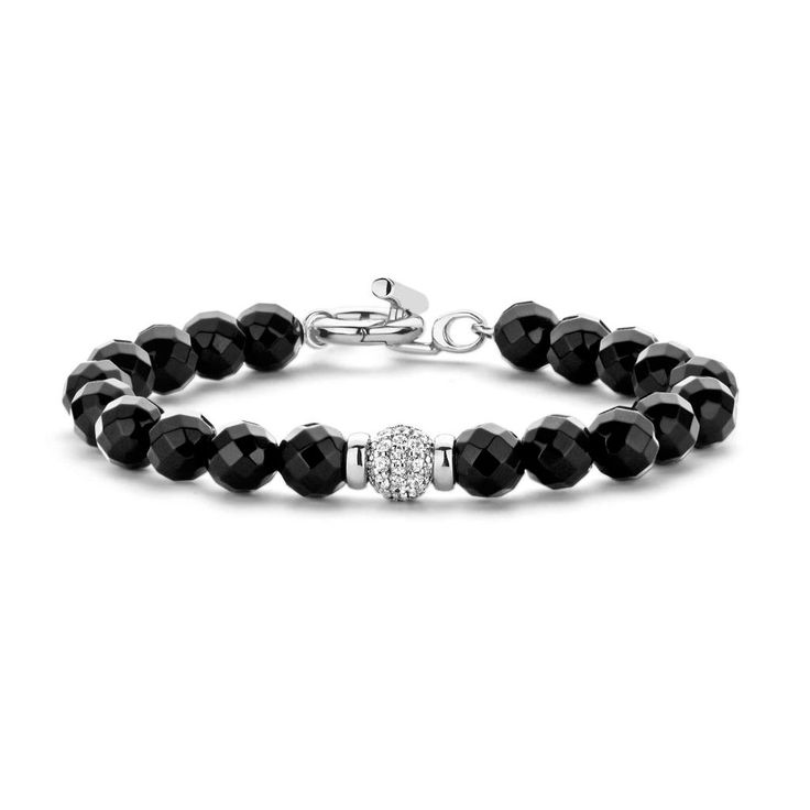 Ti Sento CZ Black Beaded Bracelet