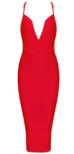 body-con fit, length below knee, sexy deep v neckline, strap , back zipper Occasion: Club wear, Cocktail Parties, Wedding Material: 90% rayon /9% nylon/ 1% spandex Color - Red Size -X-Small, Small, Me