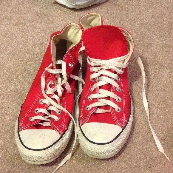 Converse Hightops, barely worn. Classic Converse All Stars, red Hightops, size 8 (women's size 10). Worn a few times, still in like new condition. Converse Shoes Sneakers