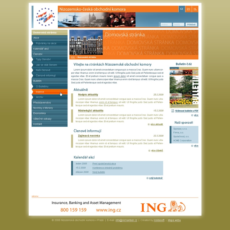 Design of official Netherlands-Czech Chamber of Commerce website
