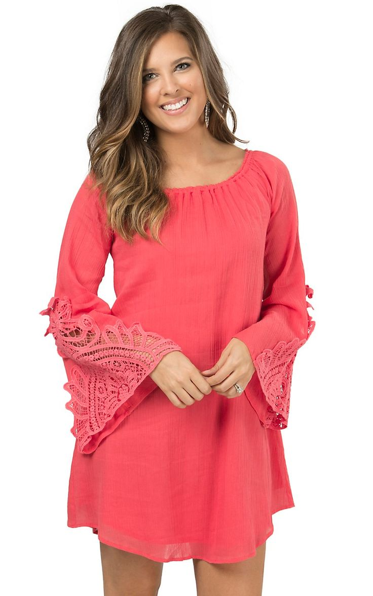 Wrangler Women's Coral with Crochet Long Bell Sleeves Dress | Cavender's