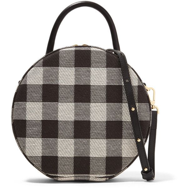 Mansur Gavriel Circle leather-trimmed checked canvas shoulder bag found on Polyvore featuring bags, handbags, shoulder bags, cross body cell phone purse, canvas handbags, crossbody cell phone purse, shoulder handbags and cell phone shoulder bag