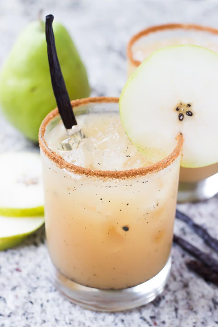 Vanilla Pear Margaritas4 ounces pear juice 2 ounces 100% agave silver tequila 1 ounce fresh lemon juice Fresh vanilla bean seeds from a 3″ piece of vanilla bean Drizzle of honey (about 1/4 – 1/2 teaspoon) Pinch of cinnamon