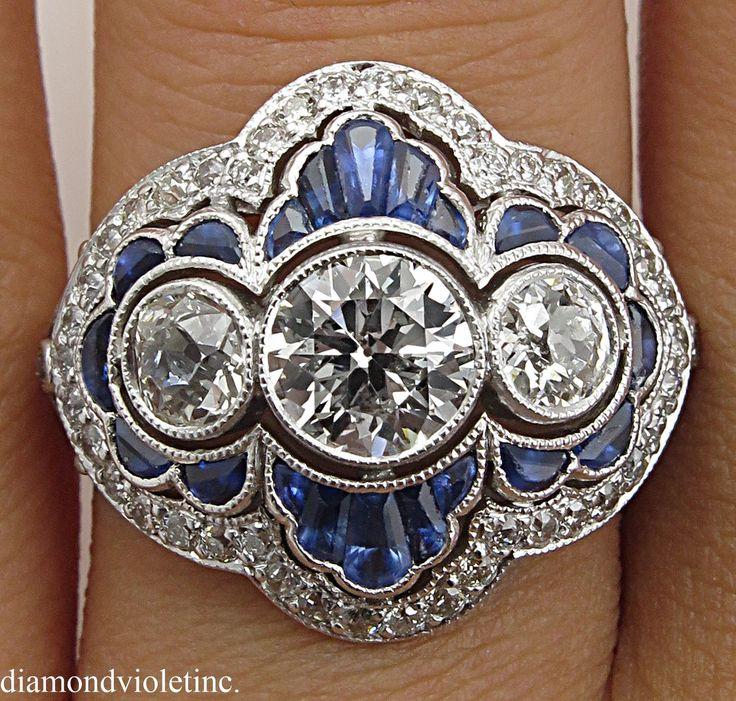 Art Deco 2.34ct Rodada Diamante Anel de Platina EGL EUA   – Schmuck