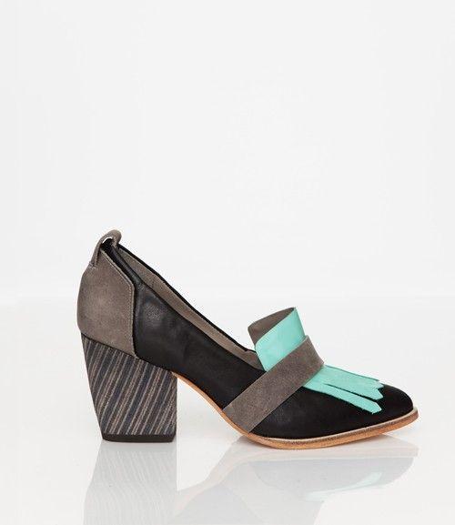 Skin by FINSK AW13: 466-01 BLACK mid-heel tassel loafer from Skin By FINSK
