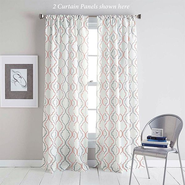 Nahla Coral Patterned Semi Sheer Curtain Panel Panel Curtains